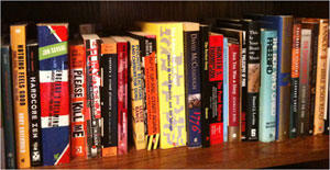 A partial view of the music section of my bookshelf.
