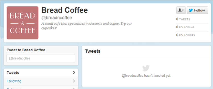@BreadNCoffee's Twitter account, as of Saturday, Oct. 6, 2012
