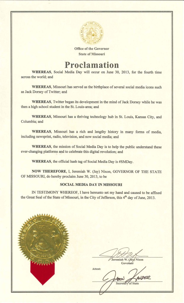 Missouri Gov. Jay Nixon's proclamation declaring June 30 Social Media Day in Missouri.