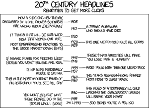 If 20th century headlines were rewritten to get more clicks (xkcd). Click (heh) to see original.