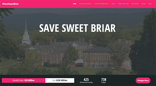 Screenshot of the crowdfunding site to save Sweet Briar College