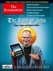Economist cover showing Steve Jobs as a messiah figure.