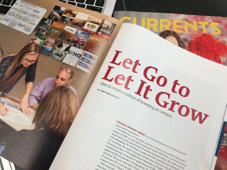 """Let Go to Let It Grow"" is the title of Tony Proudfoot's CASE Currents article. (Photo via @tonyproudfoot.)"